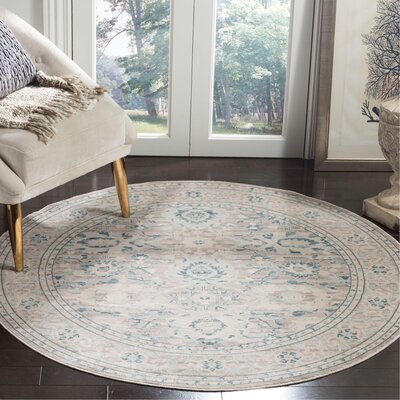 Bertille Gray/Blue Area Rug Rug Size: Round 5 x 5