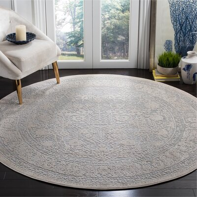 Pellot Light Gray/Cream Area Rug Rug Size: Round 67