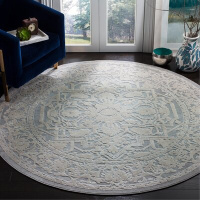 Pellot Light Gray Area Rug Rug Size: Round 67
