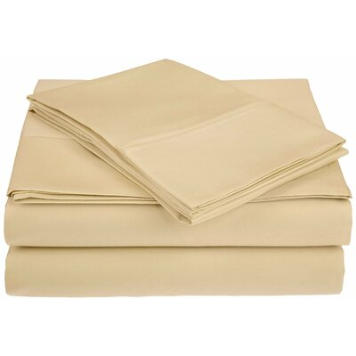Saine 450 Thread Count 100% Cotton Sheet Set Size: Queen, Color: Sand