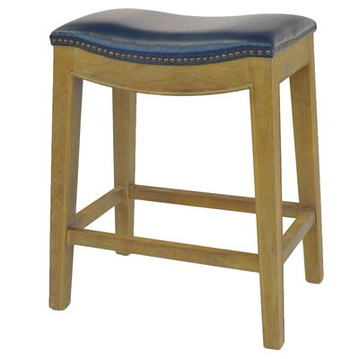 Laniel 24.5 Bar Stool Finish: Smoked, Upholstery: Blue