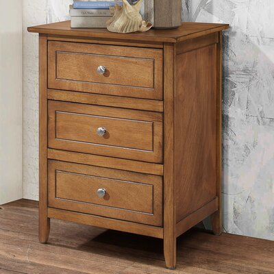 Ovellette 3 Drawer Nightstand Color: Light Walnut