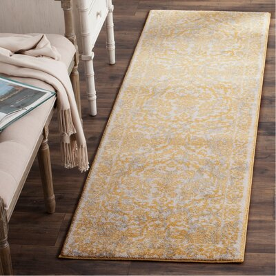 Montelimar Ivory/Gold Area Rug Rug Size: Runner 22 x 7