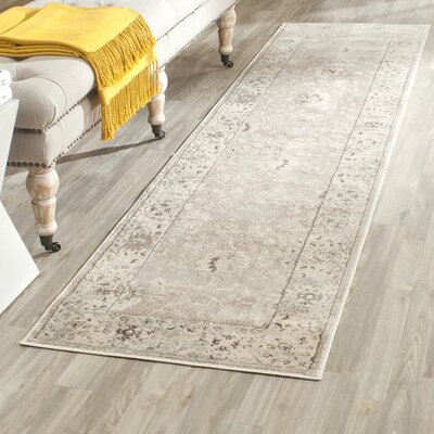 Talmont Light Gray/Ivory Area Rug Rug Size: Runner 22 x 8