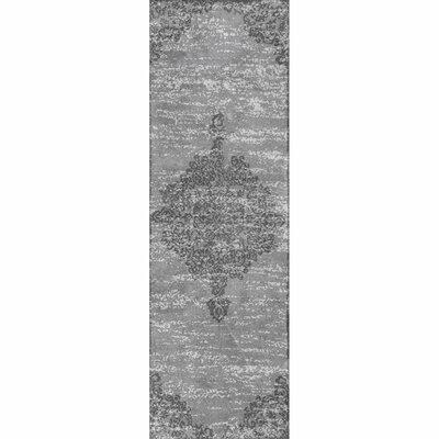 Melyne Floral Medallion Gray Area Rug Rug Size: Runner 26 x 8