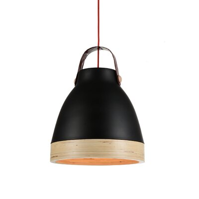 Norcia 1-Light LED Inverted Pendant Shade Color: Black/Cream, Size: 17 H x 13 W x 13 D