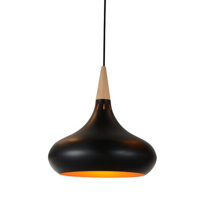 Manarola 1-Light LED Inverted Pendant Finish: Black, Size: 15 H x 14 W x 14 D