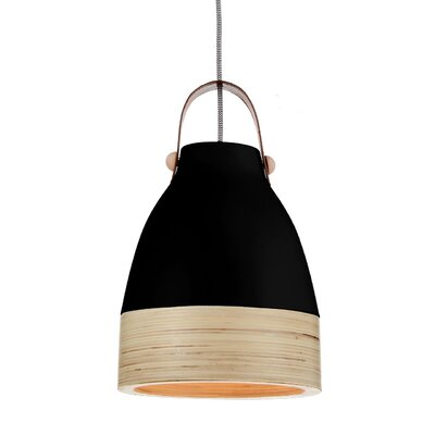 Norcia 1-Light LED Inverted Pendant Shade Color: Black/Cream, Size: 13 H x 9 W x 9 D