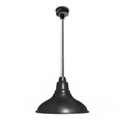 Idella 1-Light LED Inverted Pendant Finish: Matte Black with Galvanized Silver Downrod, Size: 9 H x 12 W x 12 D