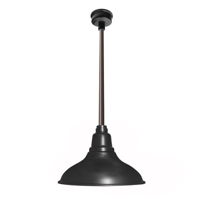 Idella Outdoor 1-Light LED Inverted Pendant Finish: Matte Black, Size: 9 H x 8 W x 8 D