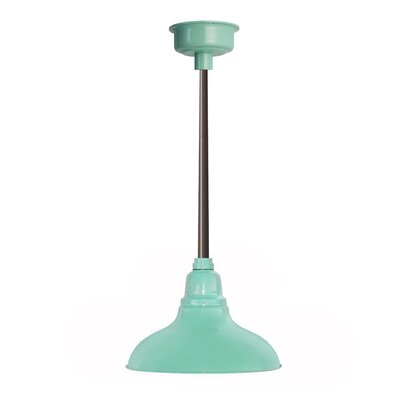 Idella Outdoor 1-Light LED Inverted Pendant Finish: Jade with Mahogany Bronze Downrod, Size: 9 H x 12 W x 12 D