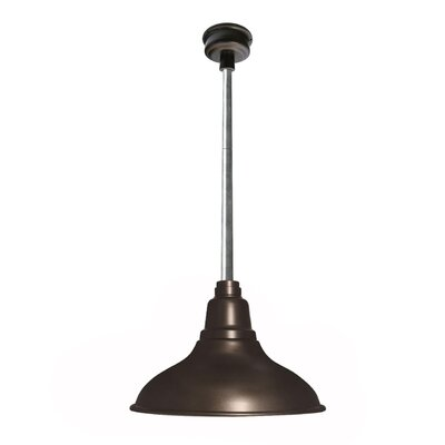 Idella 1-Light LED Inverted Pendant Finish: Mahogany Bronze with Galvanized Silver Downrod, Size: 9