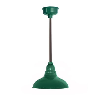 Idella Outdoor 1-Light LED Inverted Pendant Finish: Vintage Green with Mahogany Bronze Downrod, Size: 9 H x 12 W x 12 D
