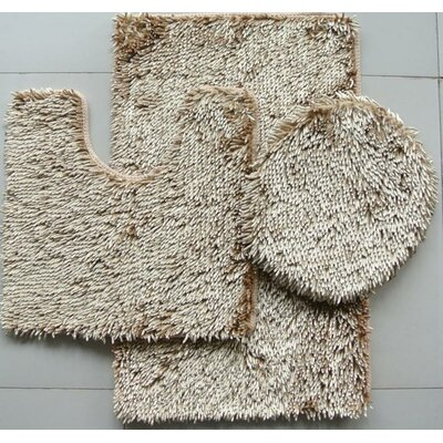 Shiny 3 Piece Bath Rug Set Color: Beige