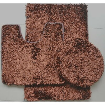 Shiny 3 Piece Bath Rug Set Color: Brown