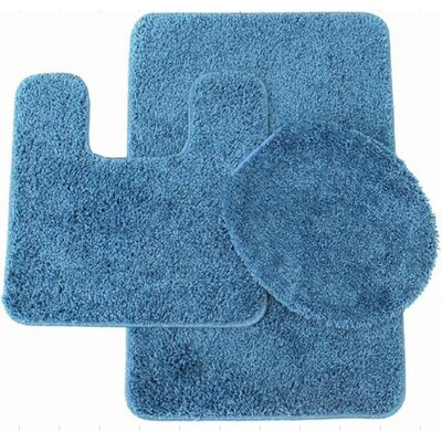 Kober 3 Piece Solid Bath Mat Set Color: Dusty Blue