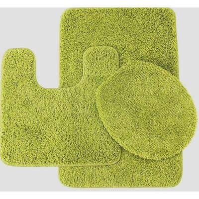 Newville 3 Piece Solid Bath Mat Set Color: Lime Green