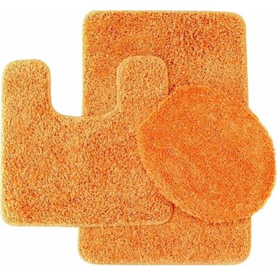Newville 3 Piece Solid Bath Mat Set Color: Orange