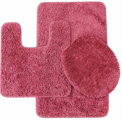 Kober 3 Piece Solid Bath Mat Set Color: Rose