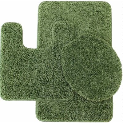 Kober 3 Piece Solid Bath Mat Set Color: Sage Green