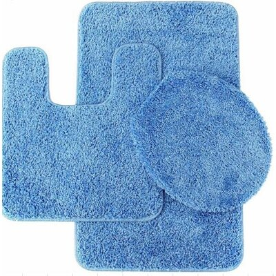 Kober 3 Piece Solid Bath Mat Set Color: Sky Blue