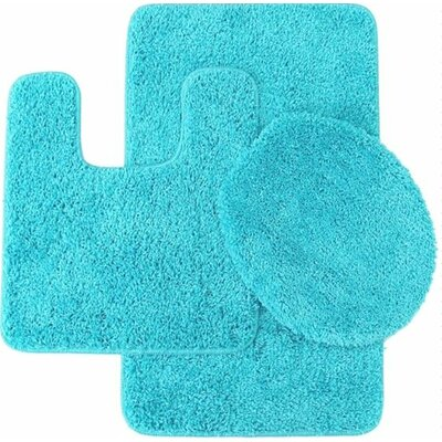 3 Piece Solid Bath Mat Set Color: Turquoise