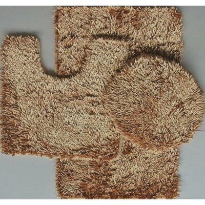 Shiny 3 Piece Bath Rug Set Color: Gold