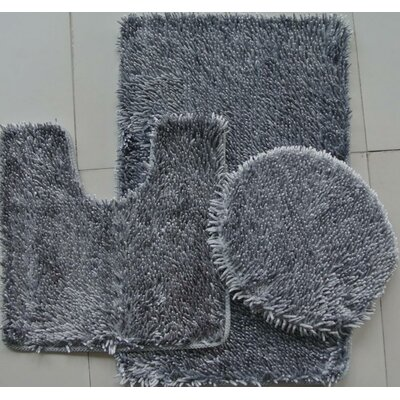 Shiny 3 Piece Bath Rug Set Color: Gray