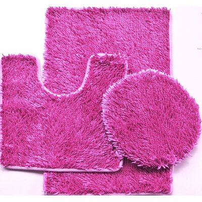 Shiny 3 Piece Bath Rug Set Color: Hot Pink