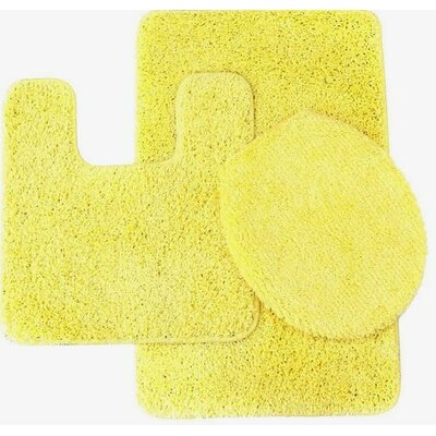 Kober 3 Piece Solid Bath Mat Set Color: Yellow