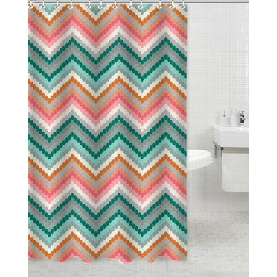 Tina Polyester Shower Curtain Color: Pink