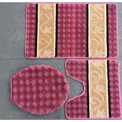 Fryar 3 Piece Bath Mat Set Color: Rose