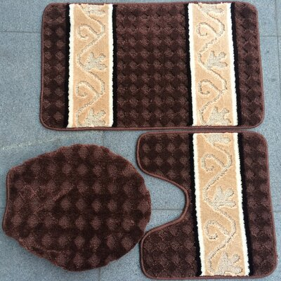 Twist 3 Piece Bath Mat Set Color: Brown