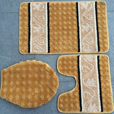 Fryar 3 Piece Bath Mat Set Color: Gold