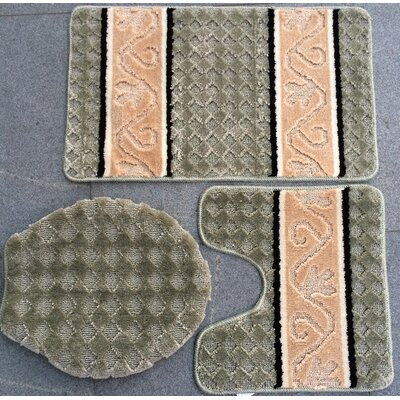 Fryar 3 Piece Bath Mat Set Color: Jade