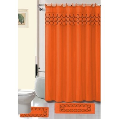 Avelaine Shower Curtain Set Color: Orange