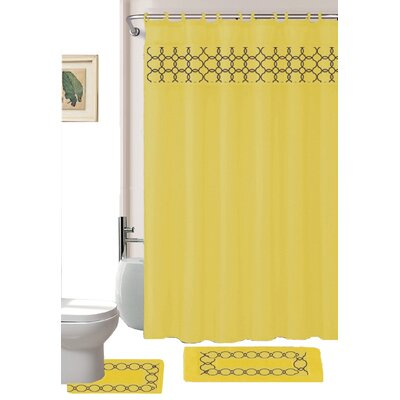 Avelaine Shower Curtain Set Color: Yellow