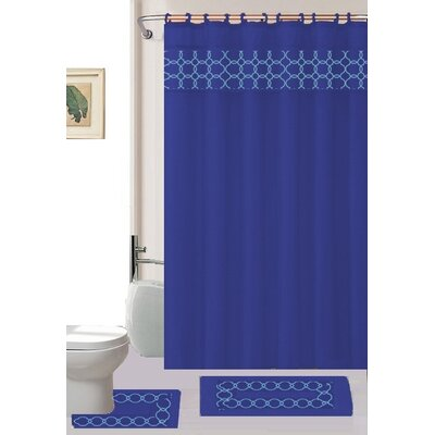 Avelaine Shower Curtain Set Color: Navy
