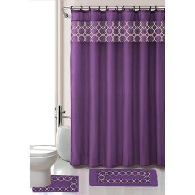 Avelaine Shower Curtain Set Color: Purple