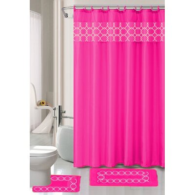 Charlton Shower Curtain Set Color: Hot Pink