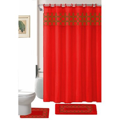 Avelaine Shower Curtain Set Color: Red