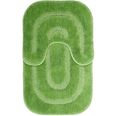 2 Piece Bath Mat Set Color: Green