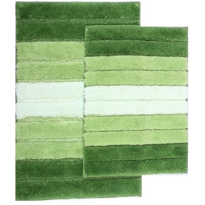2 Piece Ombre Shade Bath Rug Set Color: Sage Green