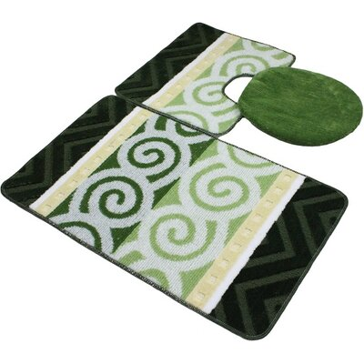 Beaudry Bath Rug Set Color: Green