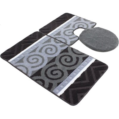 Venetian 3 Piece Bath Rug Set Color: Grey
