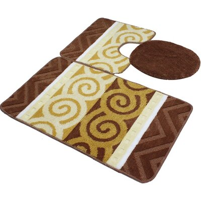Venetian 3 Piece Bath Rug Set Color: Brown