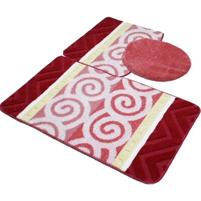 Beaudry Bath Rug Set Color: Burgundy