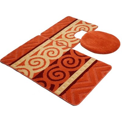 Venetian 3 Piece Bath Rug Set Color: Orange