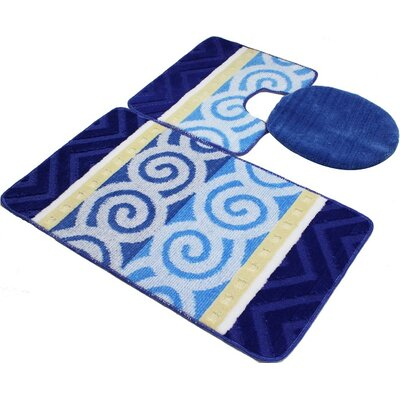 Beaudry Bath Rug Set Color: Blue