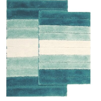Saulsberry 2 Piece Ombre Shade Bath Rug Set Color: Dusty Blue